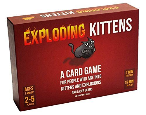 Exploding Kittens is a card game for people who are into kittens and explosions and laser beams and sometimes goats. Family-friendly, party game for 2-5 players (up to 9 players when combined with any other deck). This is the most-backed project in Kickstarter history and all cards feature illustrations by The Oatmeal.   toys4mykids.com