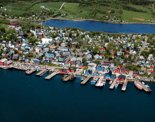 Lunenburg, Nova Scotia aerial view showing front and back harbours