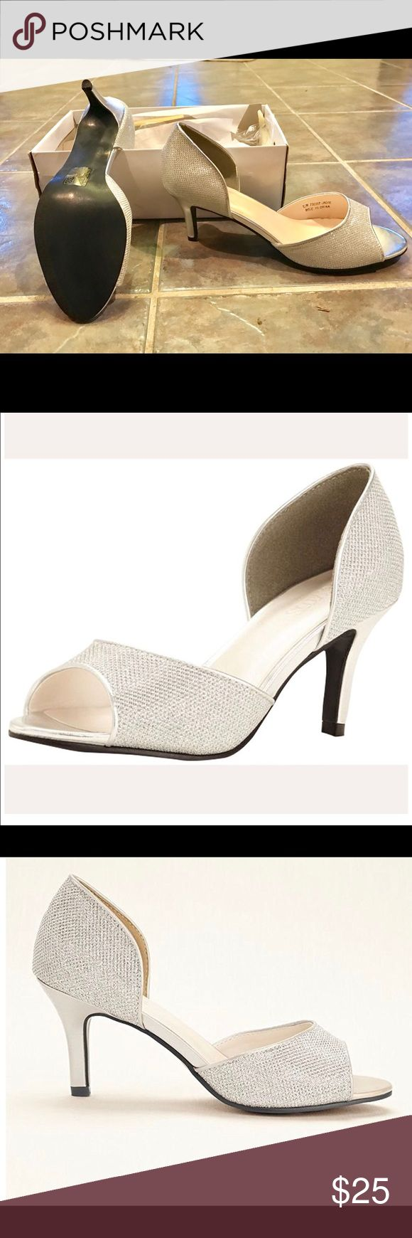 David's Bridal shoes. Shiny silver shoes David's Bridal Shoes Heels