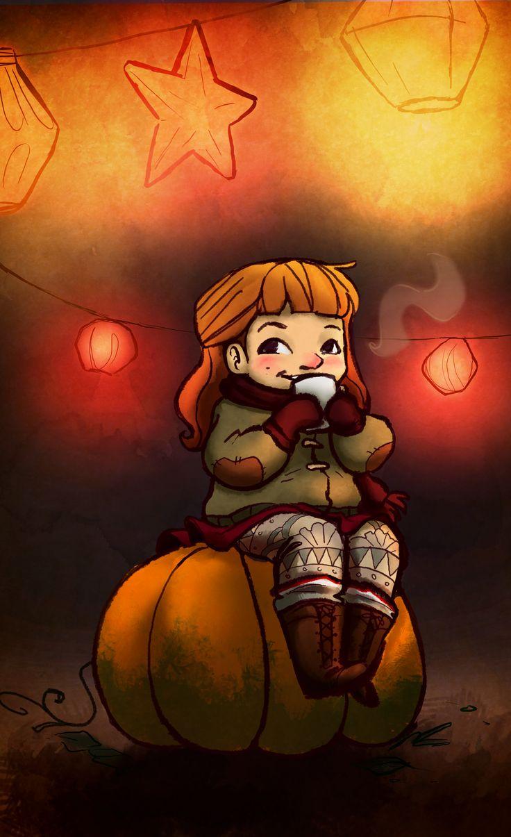 girl enjoying a pumpkin spice latte in autumn