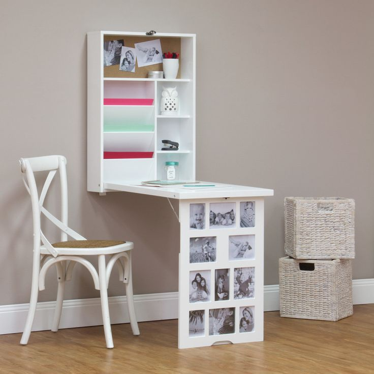 Photo frame fold down multi storage desk white buy for Fold down desk