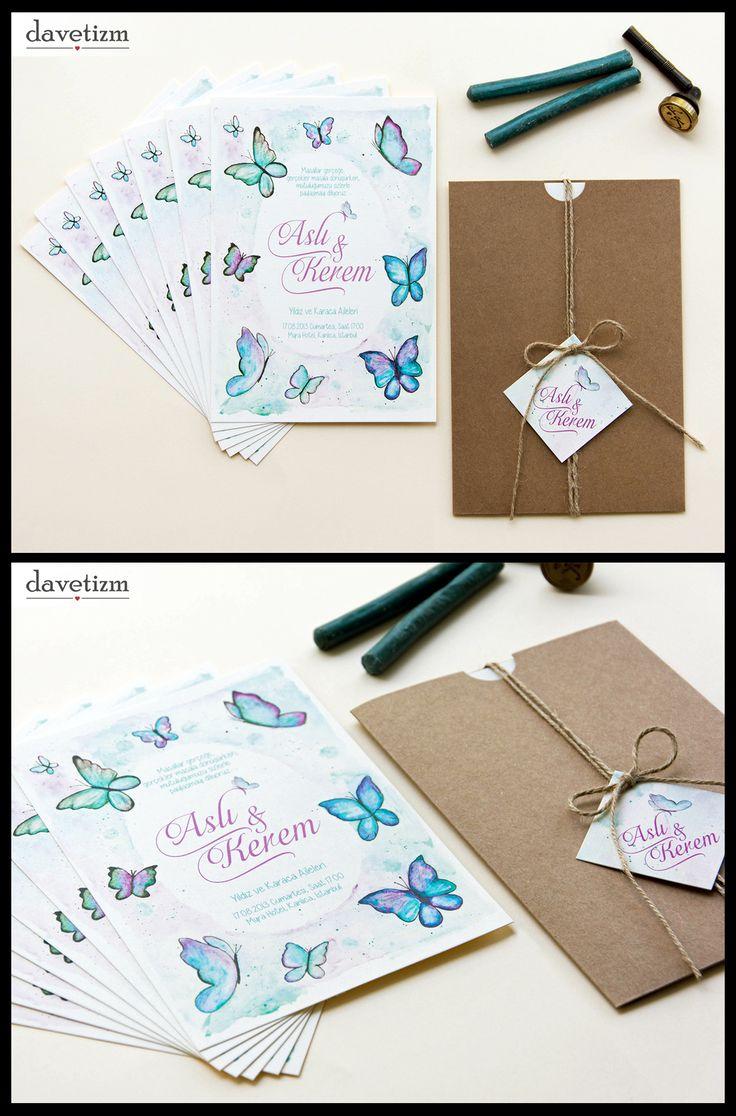 Davetizm A11 Davetiye Tasarımı #davetizm #wedding #invitation #davetiye #design #dugun #modern #butterfly #kelebek #tasarım #nametag #suluboya #watercolor davetizm.com