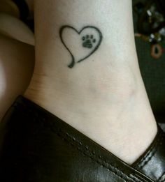 Tiny Heart With Dog Paw Tattoo On Ankle