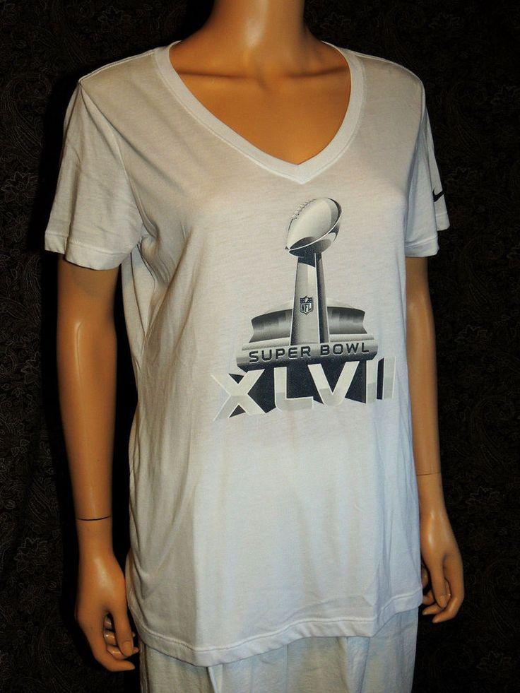 Ending @ $3.49 NFL Team Apparel Nike Super Bowl XLVII T-Shirt Women's White V-Neck Short Sleeve Tee!! #NFL