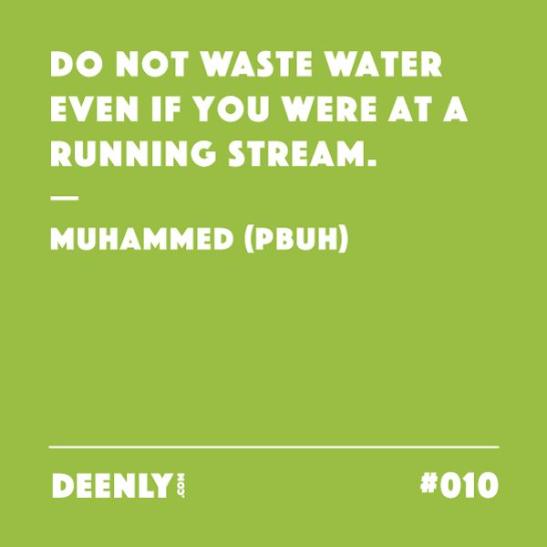 #010 - Do not waste water even if you were at a running stream. – Muhammed (PBUH)