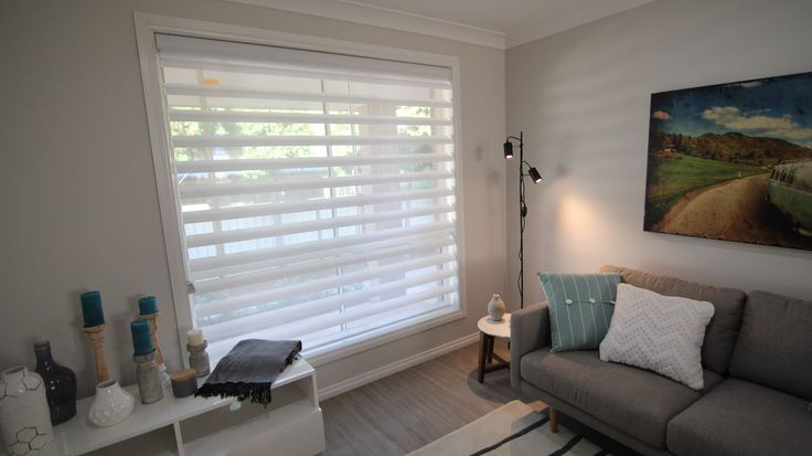 Luxaflex Pirouette Shadings in 120mm Satin Translucent (Magnolia) from episode 11.