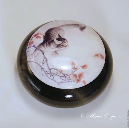 шкатулка, шкатулка круглая, гохуа, шкатулка гохуа, китайская живопись, подарок любителю китая, кот, глянцевый, орининальный подарок, ручная работа, Маша Спирина