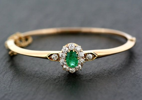 Antique Emerald Bangle - 19th Century Austro-Hungarian Victorian Emerald & Diamond Bangle 14ct Gold