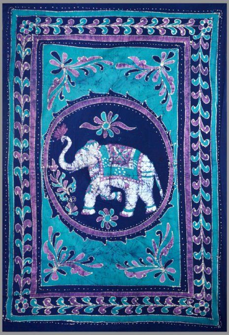 Good Luck White Elephant Batik Tapestry Twin Amp Full Sizes Available 100 Cotton Blue Purple