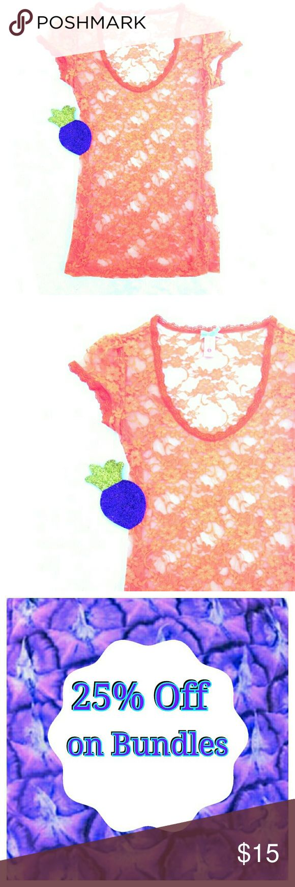 🍍 Orange Lace Top Shirt Size Small Sheer Cover Up Love this shirt it is such a nice bright orange disappointed it doesn't fit me. It's a gorgeous shirt purchased it for myself but cannot wear it so I would consider it new without the tags there's a fine line between that  🤔it has been tried on but not worn anywhere😉😊   Would look nice over a spaghetti strap tank or a bikini top I do bundle ladies 25% off on bundles  Inventory #87 Tops Blouses