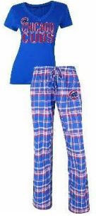 WOMEN'S CHICAGO CUBS CONCEPTS SPORT TIEBREAKER FLANNEL PAJAMA PANT AND T-SHIRT SET #ChicagoCubs #Cubs #CubsFans #GoCubs #Chicago