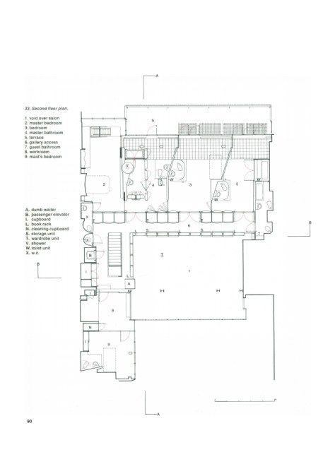 Pierre chareau maison de verre drawing second floor plan for Plan maison pierre