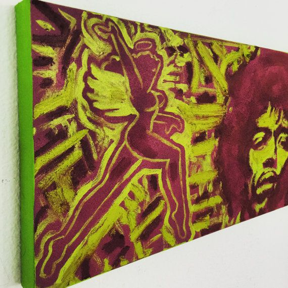 Air Force Jimi Hendrix Aviation Art by Matt Pecson Pop Art Painting 36x12 Canvas Painting on Canvas Wall Art Urban Art WW2 Pilot Gift
