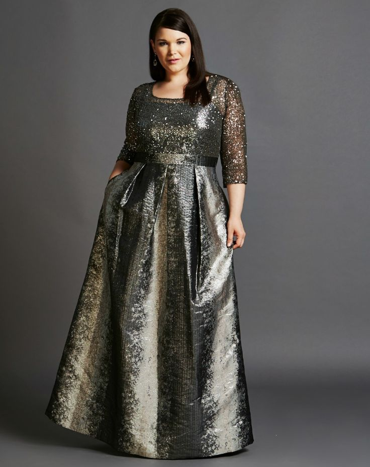 What to wear: Mother of the bride - Mysterious, sophisticated, elegant, sexy, chic. All words to describe this stunning gown by Kay Unger. The shimmering smoke grey bodice shows just enough skin to be alluring, while the metallic ballgown skirt keeps it classy. Shop this look here: https://rentfrockrepeat.com/products/smoke-and-mirrors-sequin-lace-gown