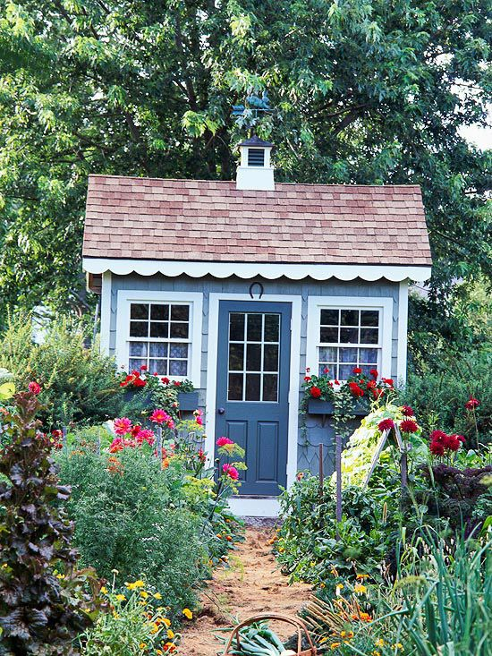 We'd love to have this cute garden shed in our yards! More gardening ideas: http://www.bhg.com/home-improvement/porch/outdoor-rooms/colorful-backyard-decorating-ideas