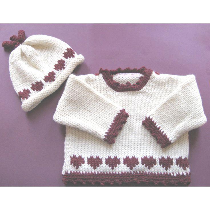 Rosy Hearts Baby Sweater Set - - Luxury Merino Wool #Gift #Valentine