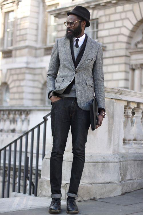 .: Black Ties, Stylemen, Street Style, Men Fashion, Style Men, Animal Friends, London Fashion Week, Black Jeans, Black Hats