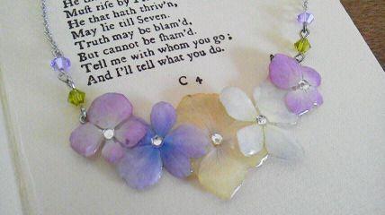 虹色あじさい 押し花ネックレス