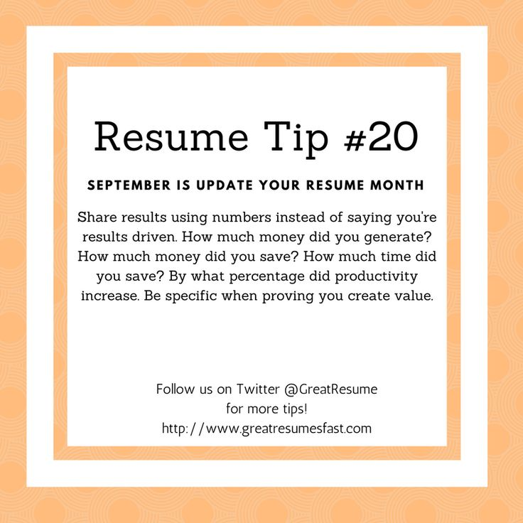 Resume Writing Tips For September Update Your Resume Month. Resume Tip #20 # Resume