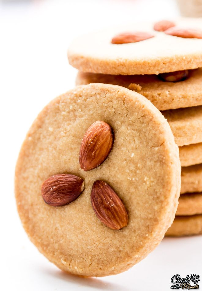 Crispy & Buttery Indian style Eggless Almond Cookies. So good with coffee or tea!