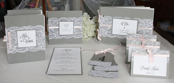 Grey and Pink Wedding Invitations Lace Wedding by alwaysbyamber