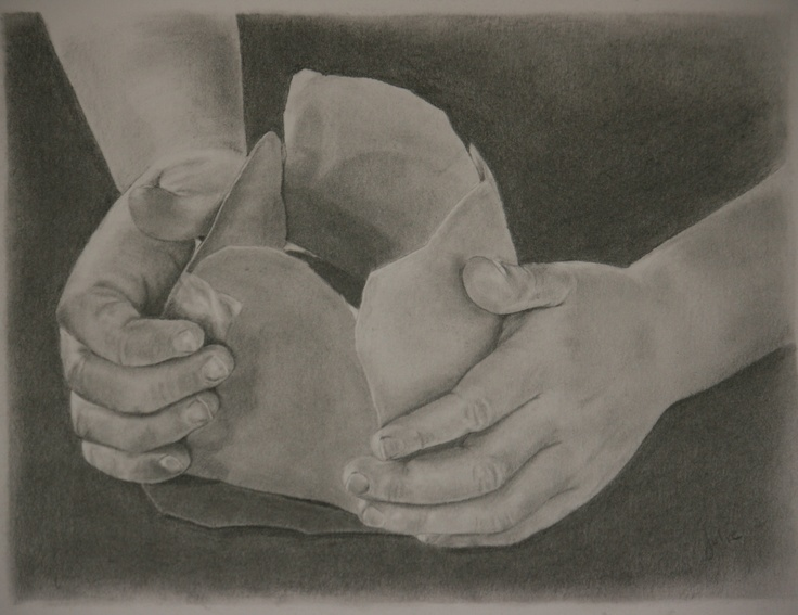 """""""The Builder and the Built"""" (by J.Lee 2012).  A special thank-you sketch for my daughter's preschool teacher - my daughter's hands and one of her creations."""