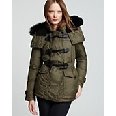Burberry Brit Worthington Down Toggle Coat with Fur Hood