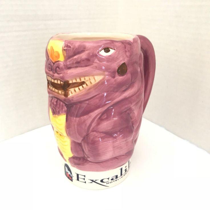 Emerald Excalibur Hotel Casino Las Vegas Purple Yellow Large Coffee Mug  #Emeralda