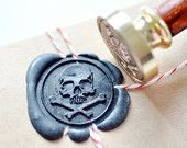 Pirate Skull Gold Plated Wax Seal Stamp x 1