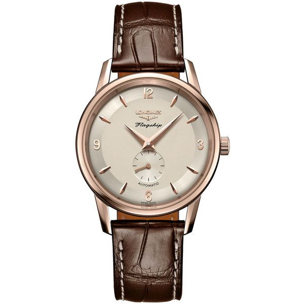 Longines Flagship Heritage L4.817.8.76.2 Watch ($7,800) ❤ liked on Polyvore featuring men's fashion, men's jewelry, men's watches, mens gold tone watches, longines mens watches and mens rose gold watches