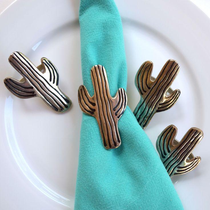 Saguaro cactus metal napkin holders vintage set of 4 dinner party Thanksgiving Christmas southwestern wedding desert inspiration