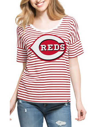 '47 Cincinnati Reds Womens Red Coed Stripe Scoop