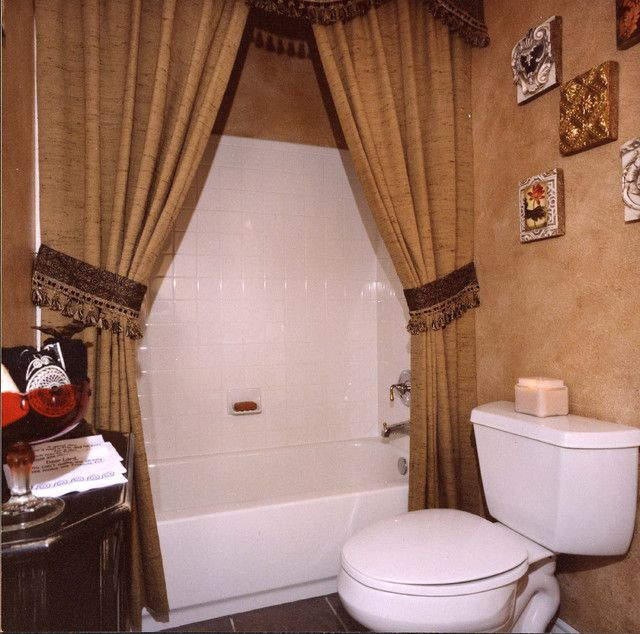 : Charming Brown Shower Curtain Ideas Inside The Traditional Bathroom With White Tile Backsplash Also Darkwood Vanity