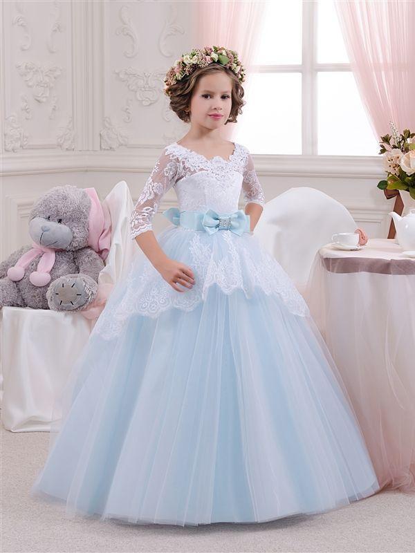 Платья на 5-6 лет : Платье бело-голубое - Butterfly-dress.com- Детские нарядные платья, детские платья оптом и в розницу, нарядные платья для девочек