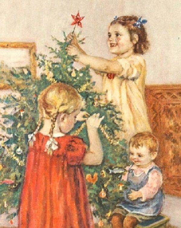 Картинки, дети у елки открытка