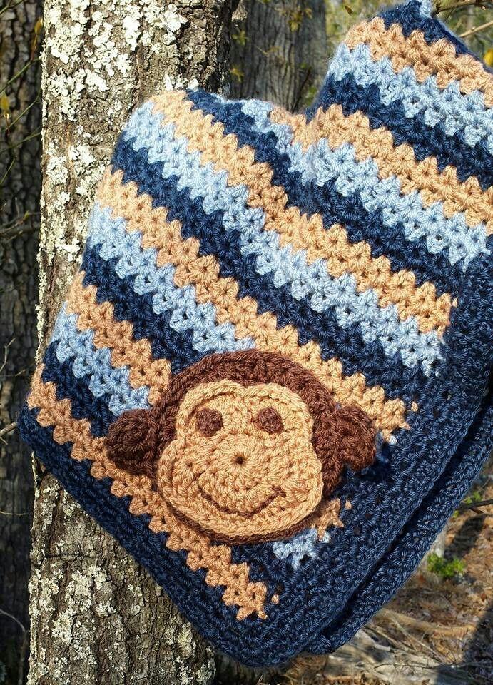Baby crochet blanket -navy, white & yellow with monkey