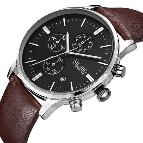 Designed to be worn by the elegant modern man, this sleek chronometer watch from Megir sits upon a classic strap and features a durablealloy metalcase. Slimline stainless steel baton hour markers surround its minimal face, and a traditional buckle secures the timepiece. It's the perfect watchfor anyoccasion.  Available in multiple colours. Specifications Movement:Japanese QuartzWater Resistance:3 BarGlass type:Mineral CrystalCase Material:Metal AlloyBand Material:LeatherClasp…