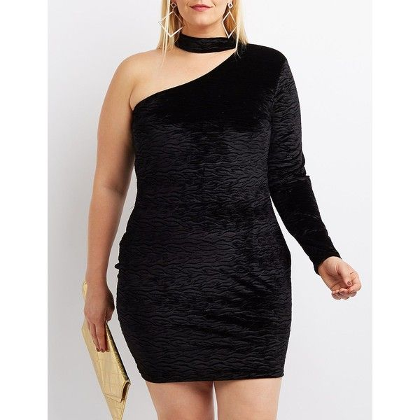 Charlotte Russe Mock Neck One-Shoulder Bodycon Dress ($20) ❤ liked on Polyvore featuring plus size women's fashion, plus size clothing, plus size dresses, black, plus size bodycon dresses, velvet cocktail dress, plus size cocktail dresses, plus size velvet dress and petite dresses