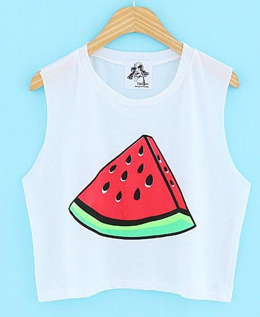 Watermelon Pattern Print Sleeveless Short Tank