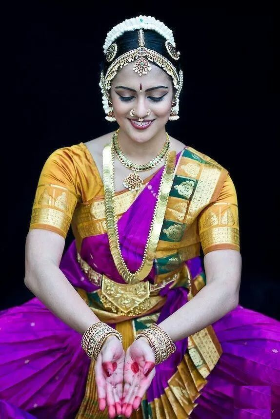 """An Indian Classical Dancer In All Her Resplendent Colors: """"The purest and most thoughtful minds are those which love color the most."""" ~ John Ruskin"""