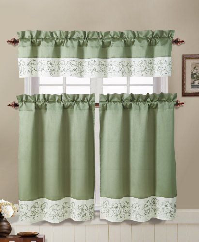 Sage Green And Ivory Embroidered Kitchen Window Curtain Set 2 Tier Panel Curtain 1 Valance