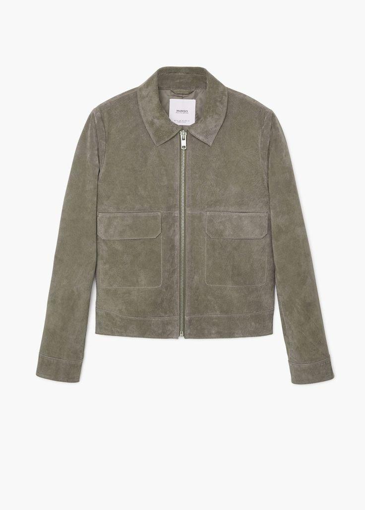 Flap-pocket suede jacket   MANGO