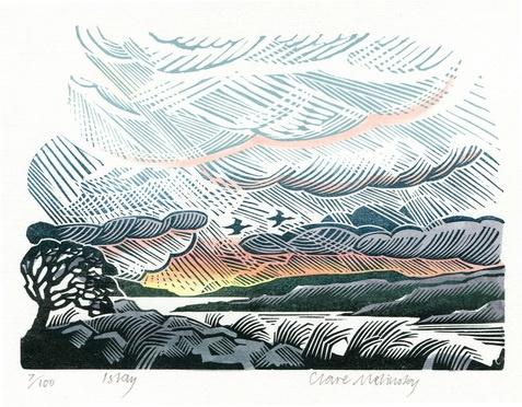 Clare Melinsky. Color linocut.