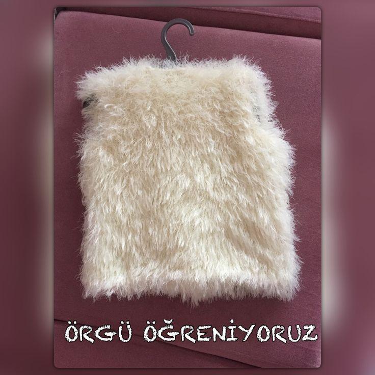 Fur vest knitting Örgü kürk yelek arkası