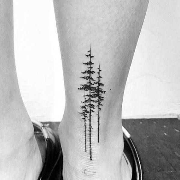 Back Of Lower Leg Guys Small Tree Tattoo Designs