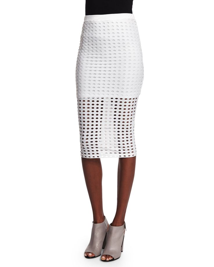 T by Alexander Wang Eyelet Jacquard Pencil Skirt, White, Size: X-SMALL