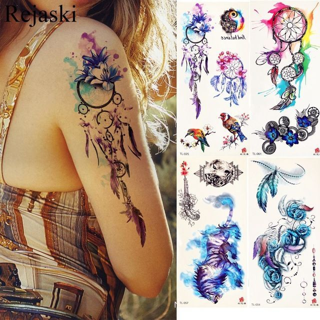 Aquarell Traumfänger Tätowierung Aufkleber Frauen Körper Arm Kunst Malerei Flash Tatto Girl Taille Feder Fake Tattoo Tribal #tattooedgirls