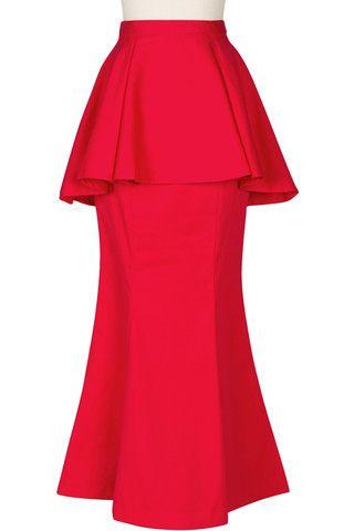 Polished Peplum Skirt - Red www.hautehijab.com
