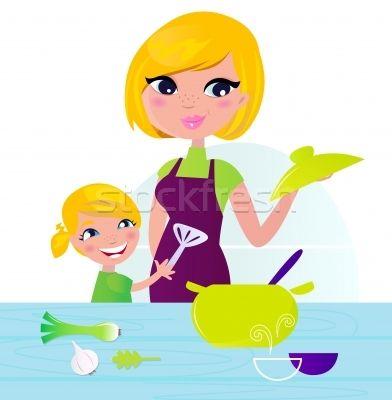 Mother with child cooking healthy food in kitchen  - ilustração de vetor por lordalea - Stockfresh #1076636