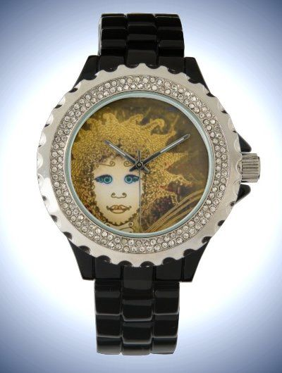 Women's Rhinestone Black Enamel Watch with Art Déco Style gold-yellow Fairy Face